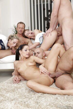 Great orgy with young girls with double penetration and cum on face scenes