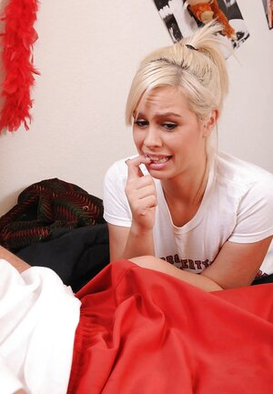 Lustful blonde worships coach's love pole till it explodes with cum on her face