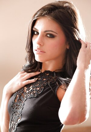 Comely brunette in black stockings Adriana Chechik loves to pose nude