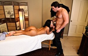 Eastern diva Asa Akira prevents lad from giving massage for the sake of coition