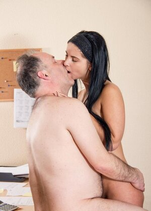 Fella with a big hairy belly scores brunette colleague who is much younger