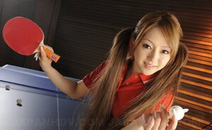 Ping-pong game makes twin-tailed Japanese player willing to show small tits