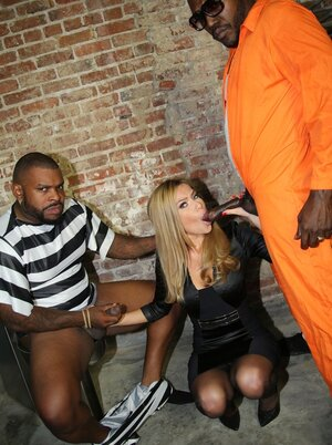 Black criminals team up to bang helpless white inmate in all her welcoming holes