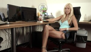 Blonde hoe has an act of procreating with an older computer technician